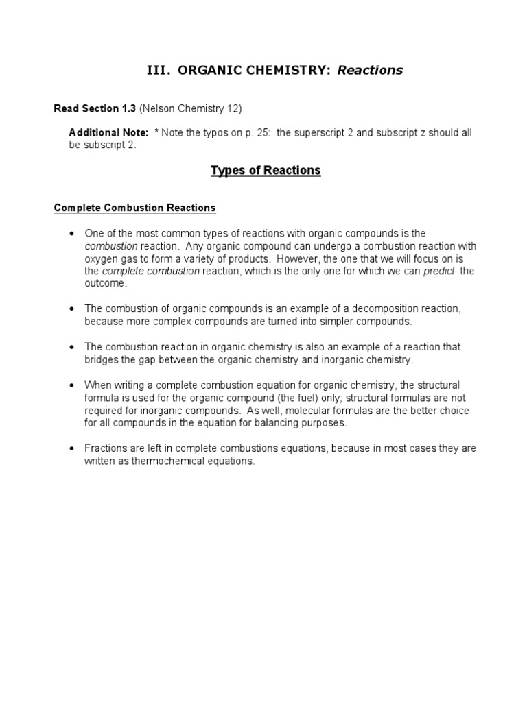 Iii Organic Chemistry Reactions Chemical Compounds Chemical