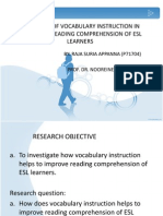 Effectiveness Vocabulary Instrusctions in Improving Reading Comprhension Ofesl Learners