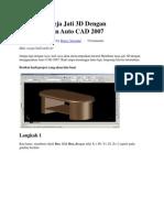 Membuat Meja Jati 3D Dengan Menggunakan Auto CAD 2007