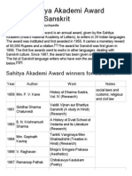 List of Sahitya Akademi Award Winners for Sanskrit - Wikipedia, The Free Encyclopedia