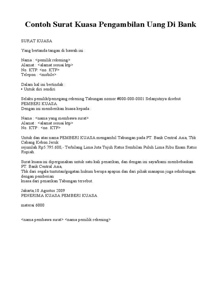 Contoh Surat Kuasa Pengambilan Uang Di Bank Bri Doc ...