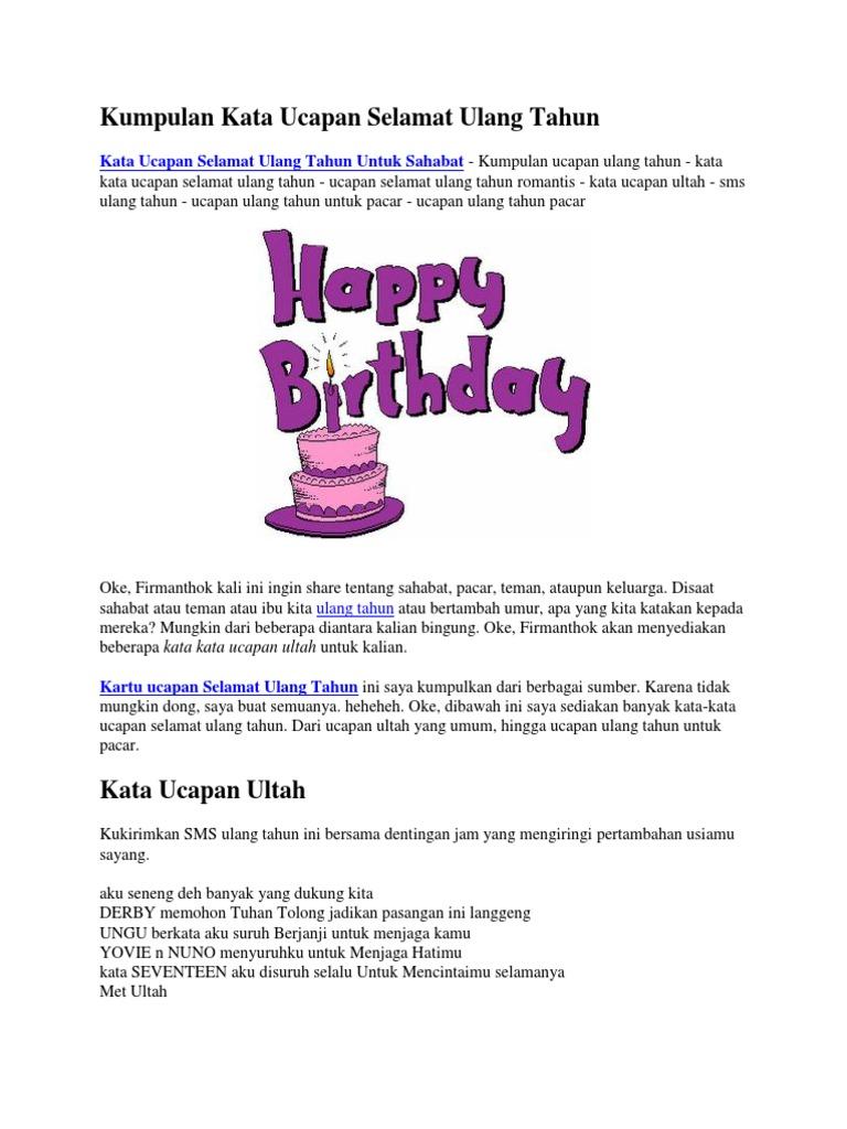 Kumpulan Kata Ucapan Selamat Ulang Tahun