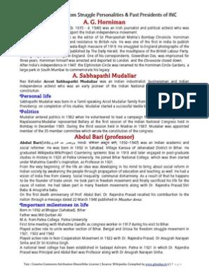 Freedom Struggle & INC Presidents - Wiki-Book | Indian