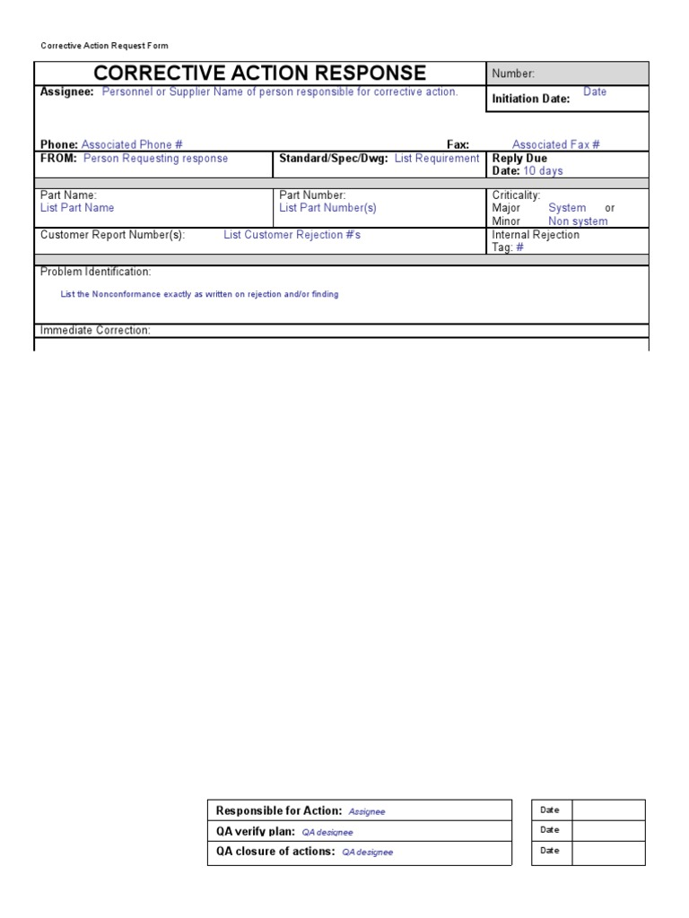 Corrective Action Response Form With Instructions | Production And ...