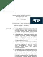 UU Nomor 25 Tahun 2009 Tentang Pelayanan Publik