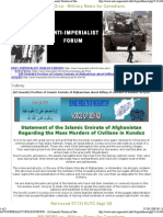 """Statement of the Islamic Emirate of Afghanistan Regarding the Mass Murders of Civilians in Kunduz """