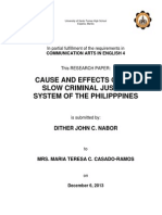 Cause and Effects of the Slow Criminal Justice System of the Philippines