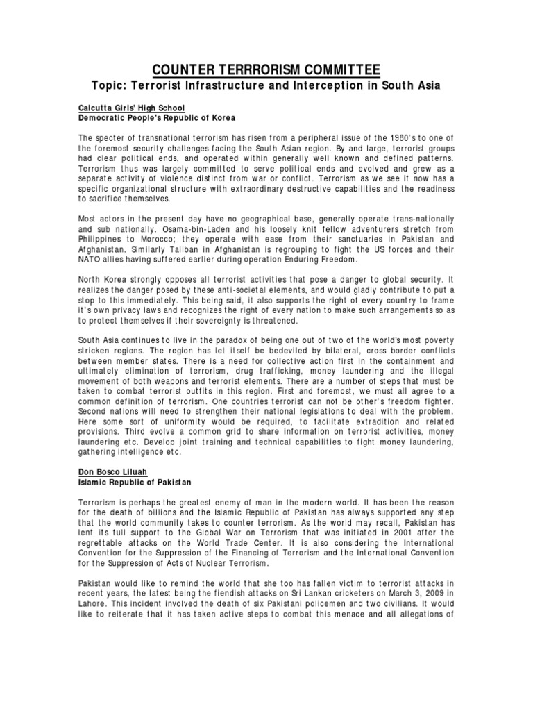 Counter Terrorism Committee Position Papers-JacoMUN | Treaty
