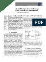Self Adaptive Body Biasing Scheme for Leakage power reduction under 32nm CMOS regime