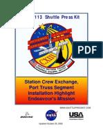NASA Space Shuttle STS-113 Press Kit