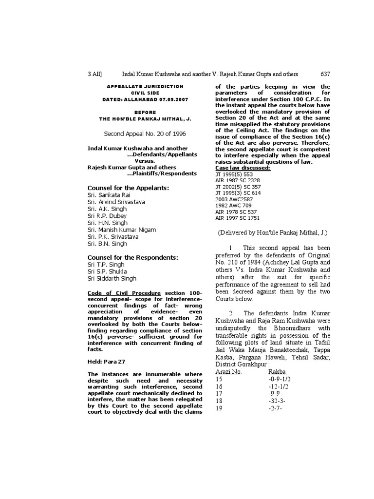 Indian Law Report - Allahabad Series - Sep-Oct2007 | Lawsuit | Deed