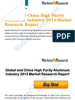 Global and China High Purity Aluminum Industry 2013 Market Size, Share, Growth & Forecast
