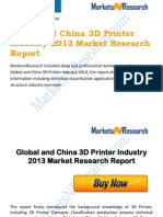 Global and China 3D Printer Industry 2013 Market Trend Size Share Research Report