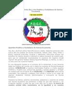 Mensaje D. Rafael Evita Ika, a los Pueblos y Ciudadanos de Guinea Ecuatorial.