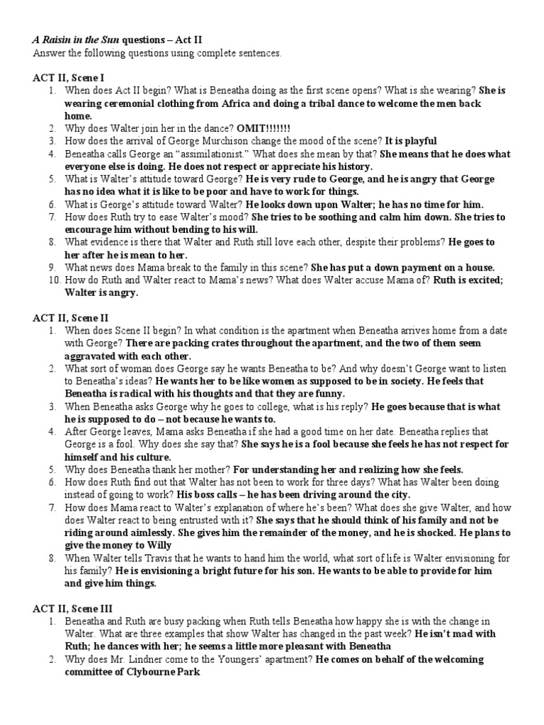 Lorraine hansberry's a raisin in the sun study guide packet by.