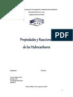 Propiedades y Reacciones de Los Hidrocarburos