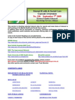 Mental Health Bulletin No 220 September 7th 2009