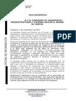 LA ALCALDESA Y EL CONSEJERO DE TRANSPORTES, INFRAESTRUCTURAS Y VIVIENDA VISITAN EL BARRIO DE CÁRITAS