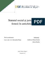 Statutul social şi juridic al femeii în antichitate