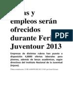 Becas y empleos serán ofrecidos durante Feria Juventour 2013