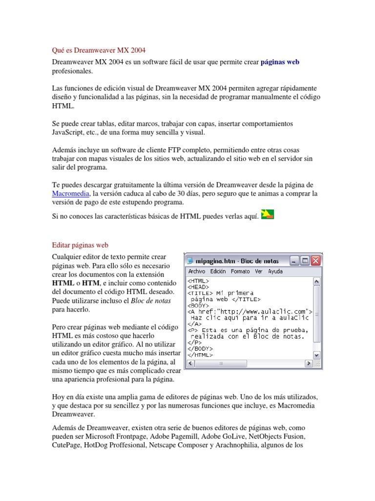 Qué es Dreamweaver MX 2004.docx - Tutorial