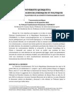 Université Quisqueya - Chaire Louis Joseph Janvier - Commentaires juridiques de la décision du 23 septembre 2013  du Tribunal  Constitutionnel Dominicain