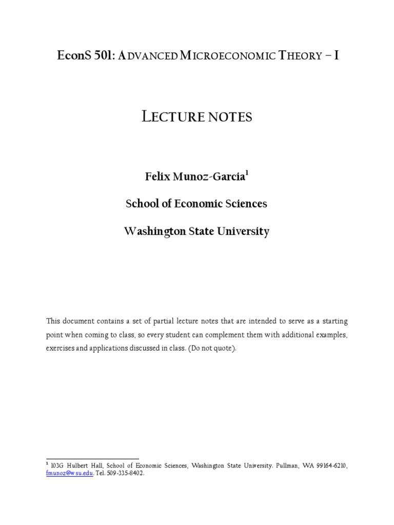 Muozf Advanced Microeconomic Theory Wsu Utility Microeconomics