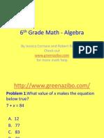 6th Grade Algebra PP