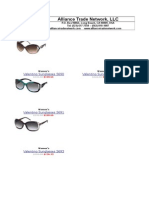 Valentino Sunglasses Pricecard 2013