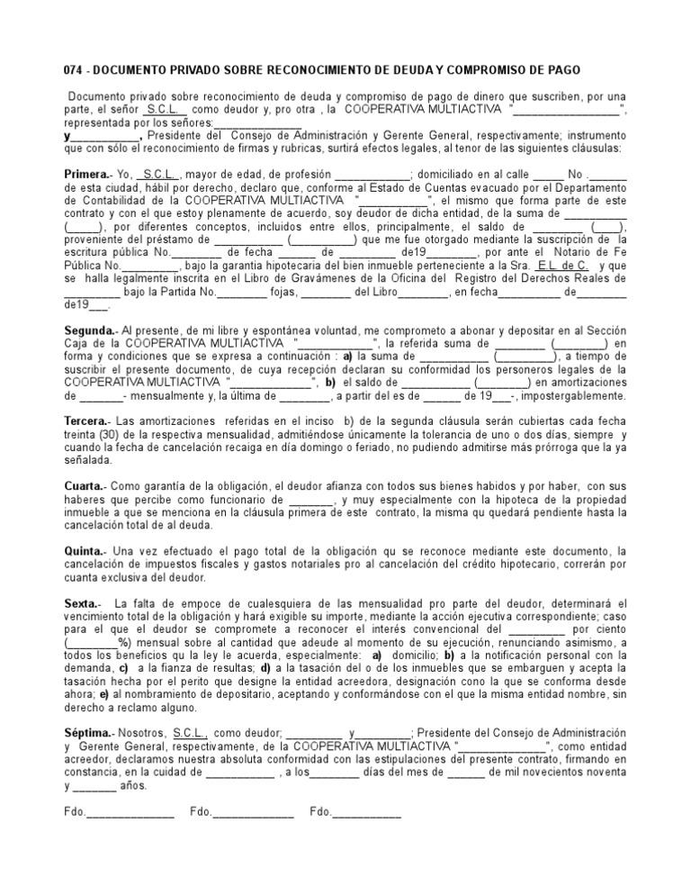 Documento privado sobre reconocimiento de deuda y for Clausula suelo firma acuerdo privado
