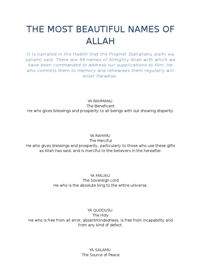 The Most Beautiful Names of Allah | Religious Belief And