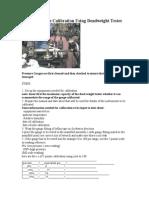 Pressure Gauge Calibration Using Deadweight Tester