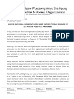 Kachin National Organization Demand Unconditional Release of All Kachin Political Prisoners