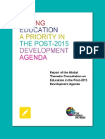 Making Education a Priority in the Post-2015 Development Agenda