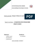 COMMUNICATION FINANCIÈRE  STRICTO SENSU (version finale)(1)