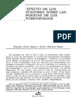 Alvira, F. y Ramos, E. (1985) - El Efecto de Los Entrevistadores Sobre Las Respuestas de Los Entrevistados