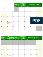 LibreOffice 2014 Calendar With USA Holidays Landscape