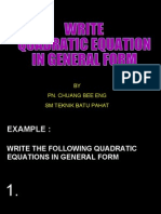 Quadratic Equations for Secondary School
