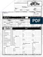 Agone RPG Character Sheet