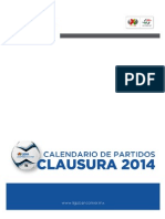 Calendario de Partidos LIGA BBVA Bancomer - Clausura 2014