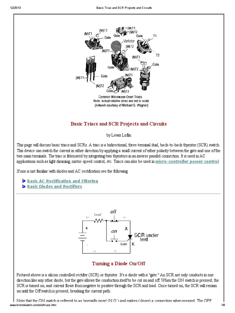 Basic Triac And Scr Projects Circuitspdf Rectifier Diode Opto Circuit