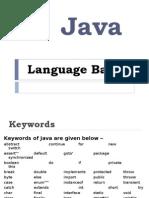 Basics Of java language (Introduction)