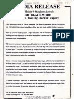 Hodder Media Release on Leigh Blackmore, editor of Terror Australis
