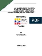 Informe Arqueologico Buenavista Vega Rivera Paccha Zaruma