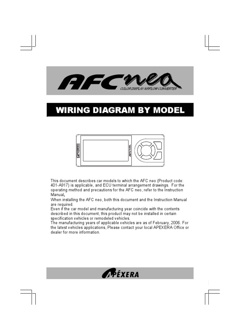 Apexi Integration Installation Manual: AFC nea color display ...