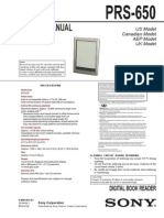 Manuale istruzioni smontaggio ebook Sony PRS 650
