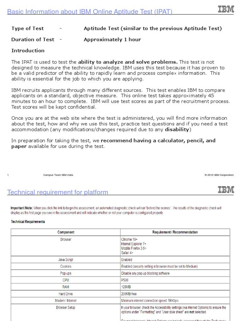 4627_IBM Online Aptitude Test (IPAT)   Test (Assessment)   Password  Aptitude Test Free