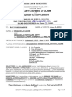Ray Corporation Notice of Claim and Request for Settlement Plus Maine Laws