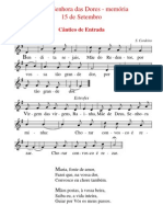Cânticos da Missa da memória de Nossa Senhora das Dores