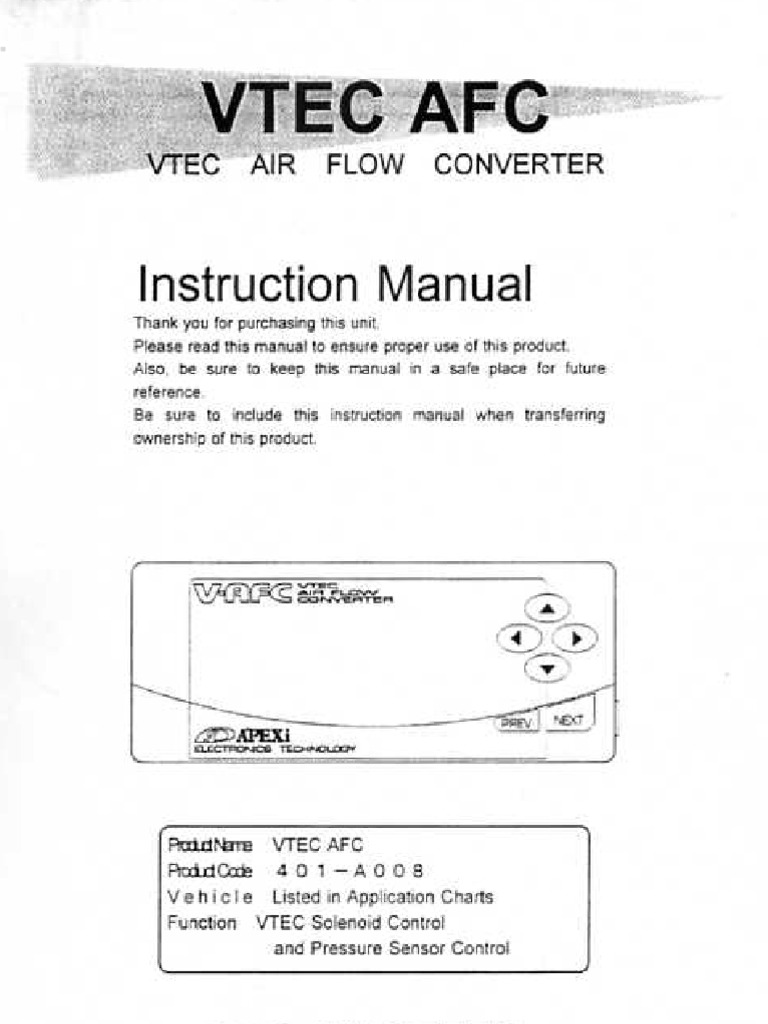 [SCHEMATICS_4JK]  Apexi Installation Instruction Manual: VTEC Air Flow Converter | Mechanical  Engineering | Manufactured Goods | Apexi Vafc Wiring Diagram |  | Scribd